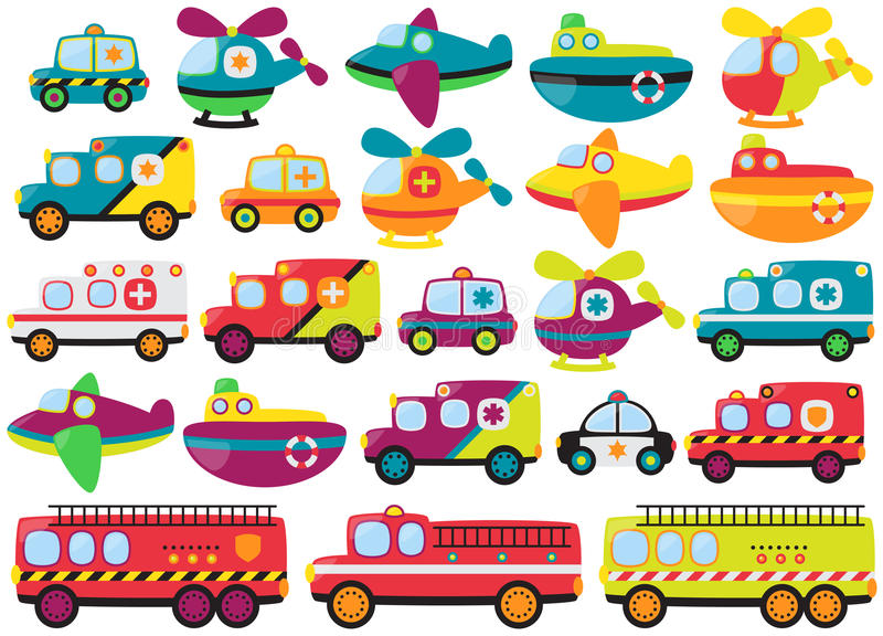 Coleção do vetor de veículos de socorro bonitos da emergência ilustração do vetor