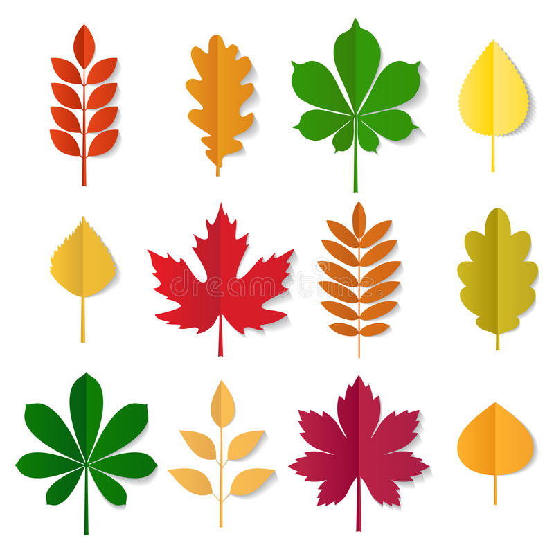 A coleção do vetor do outono coloriu as folhas ilustração stock