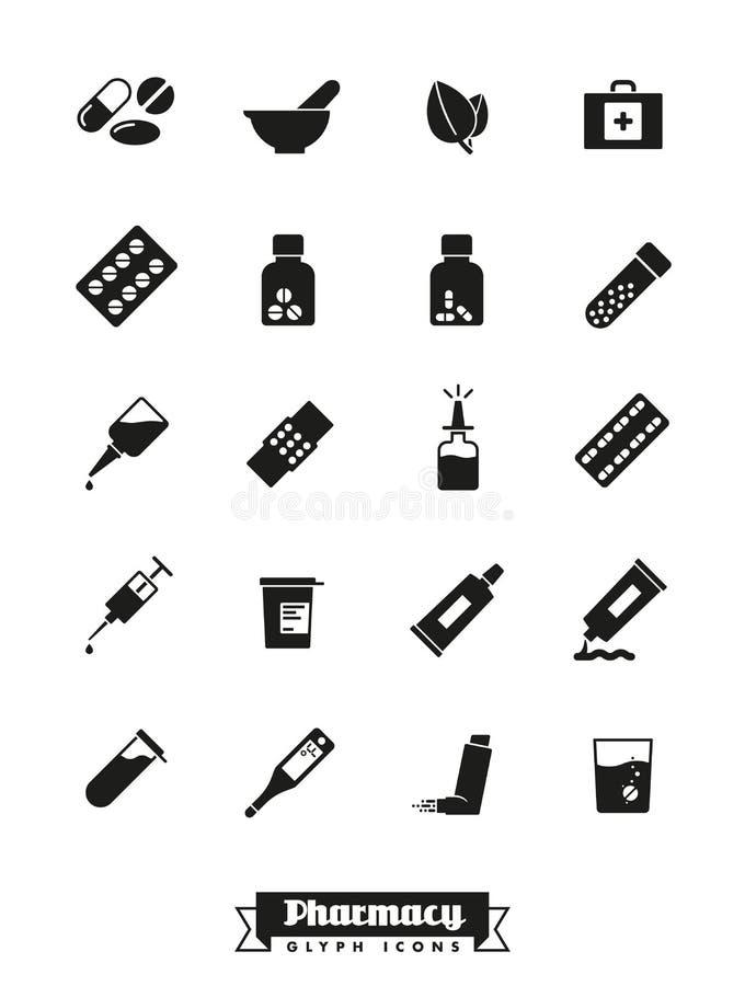 Coleção do vetor dos ícones do glyph da farmácia e da medicina ilustração stock