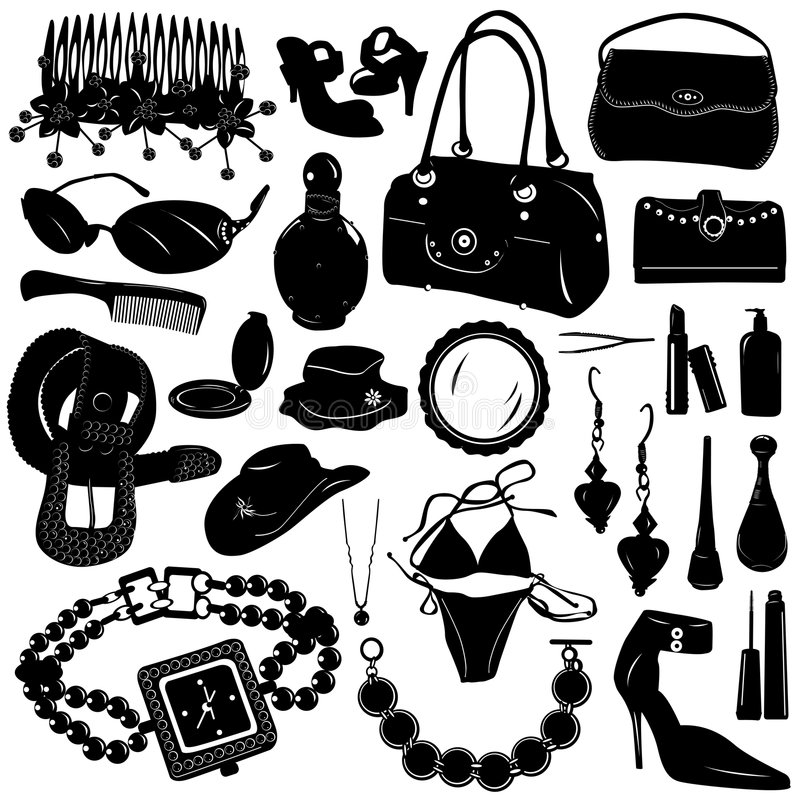 Coleção do vetor dos acessórios das mulheres ilustração royalty free