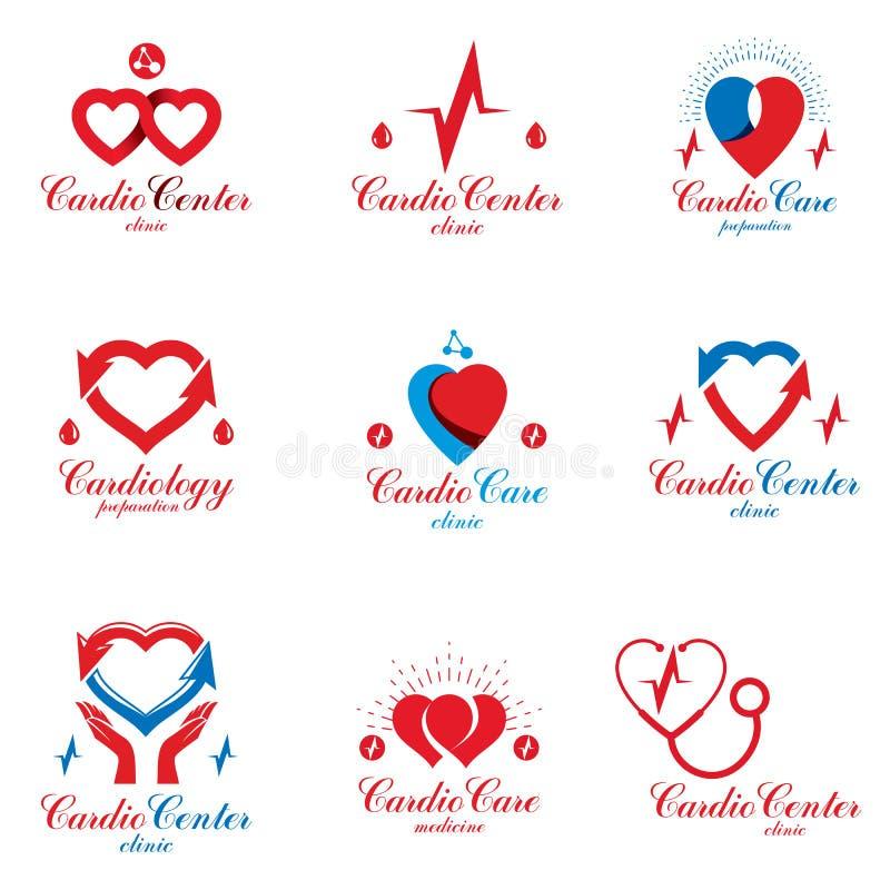 A cole??o do vetor dos cuidados m?dicos da cardiologia pode ser usada no neg?cio farmac?utico, cora??o vermelho d? forma isolado ilustração do vetor