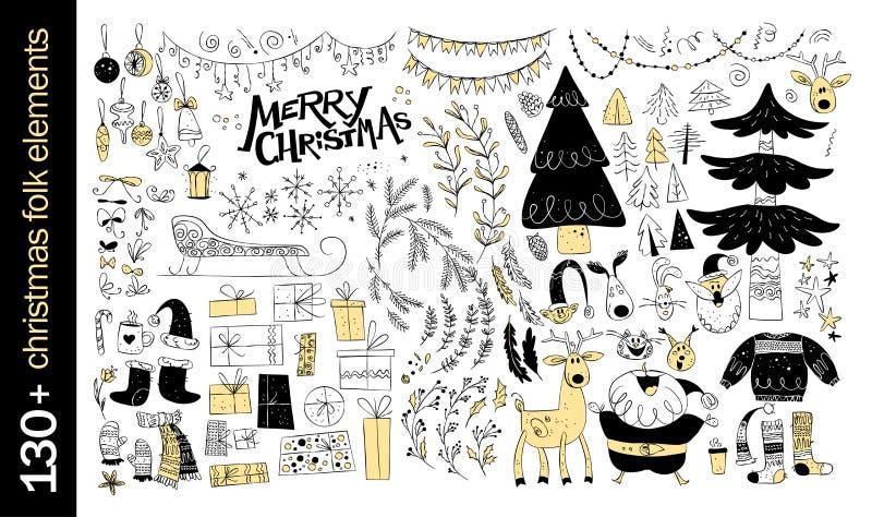 Coleção do vetor dos elementos nativos do projeto do Natal isolados no fundo branco ilustração stock