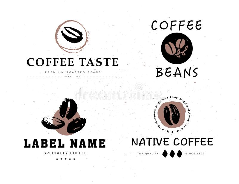 Coleção do vetor dos elementos tirados mão do projeto do logotipo do café isolados no fundo textured ilustração stock