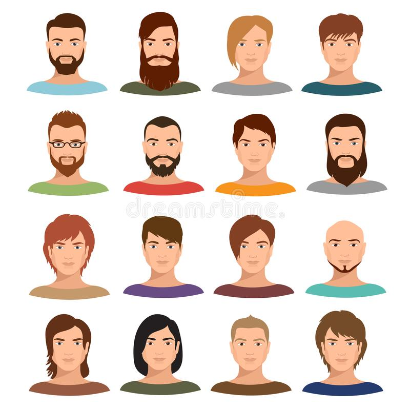 Coleção do vetor dos retratos do homem adulto O perfil do Internet equipa as caras dos desenhos animados ilustração stock