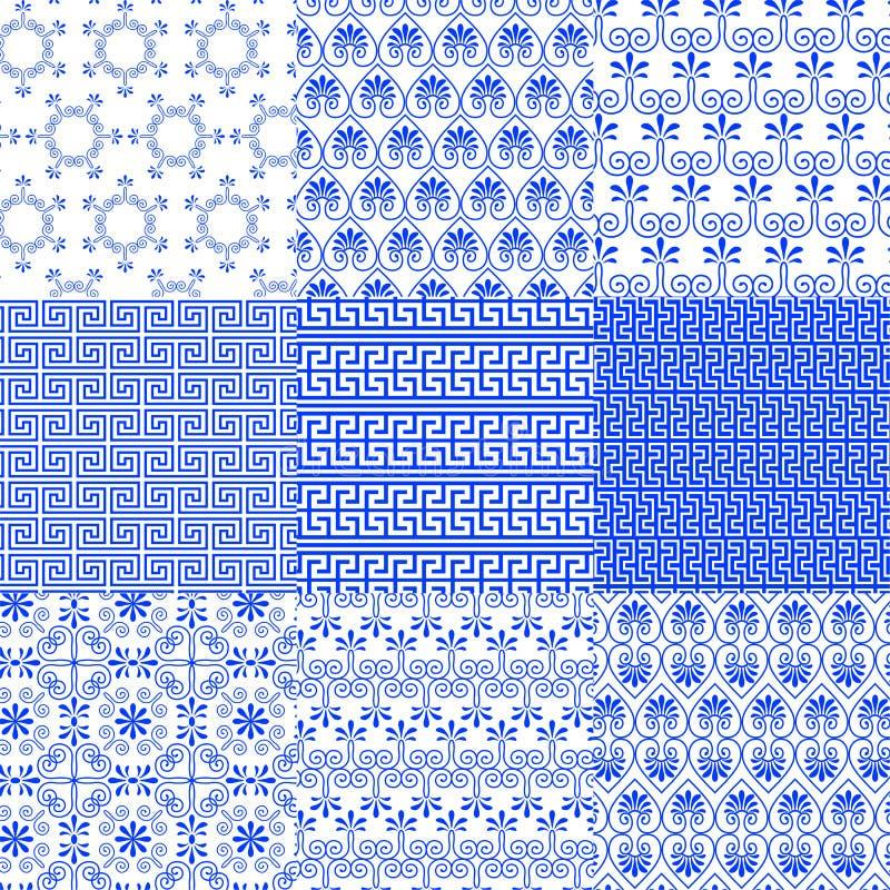 Coleção do vetor dos testes padrões sem emenda tradicionais gregos ilustração do vetor