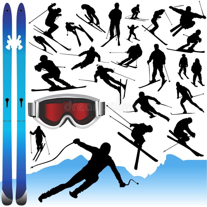 Coleção do vetor e dos equipamentos do esqui ilustração stock