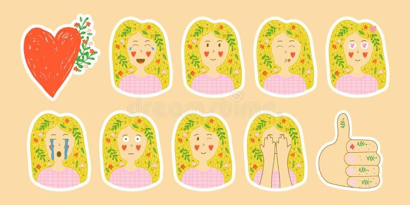 Coleção do vetor do estilo tirado das etiquetas à disposição ajuste do emotio ilustração royalty free