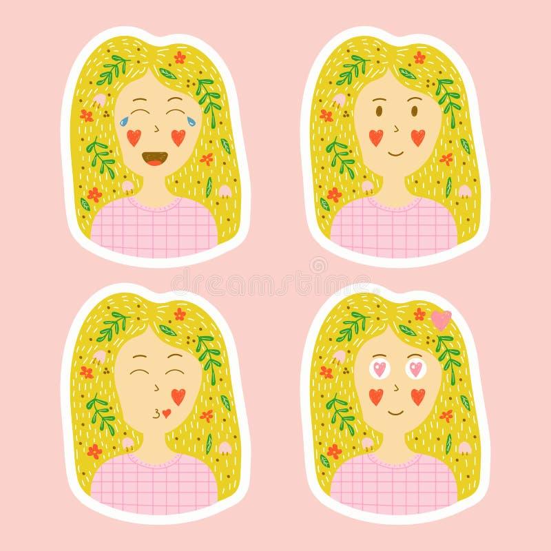 Coleção do vetor do estilo tirado das etiquetas à disposição ajuste do emotio ilustração stock