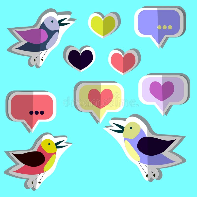 Coleção do vetor, grupo de pássaros bonitos, corações, etiquetas Projeto liso de papel ilustração do vetor