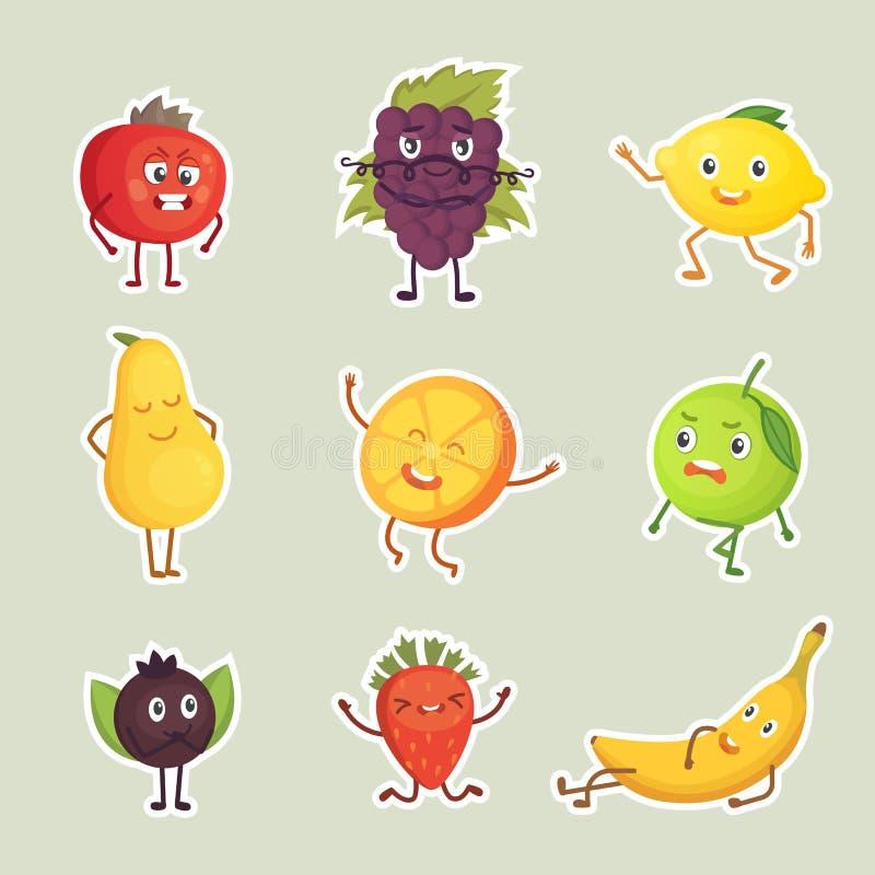 Coleção do vetor do grupo isolado etiquetas dos frutos ilustração do vetor