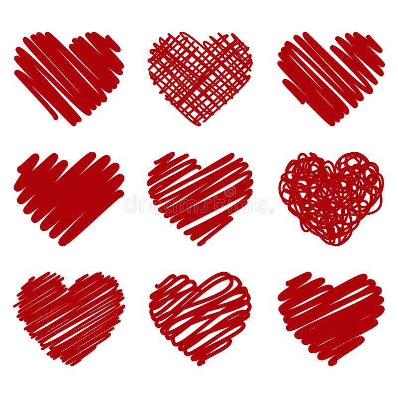 A coleção do vetor vermelho pintou o coração no fundo branco ilustração royalty free