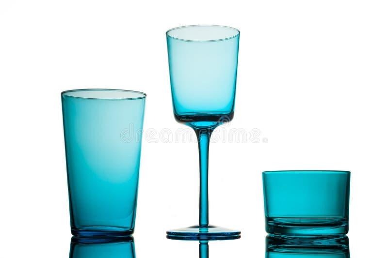 Coleção do vidro de turquesa imagens de stock royalty free