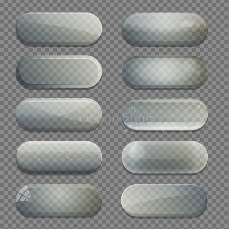 A coleção do vidro transparente arredondou botões do app da forma do retângulo ilustração do vetor
