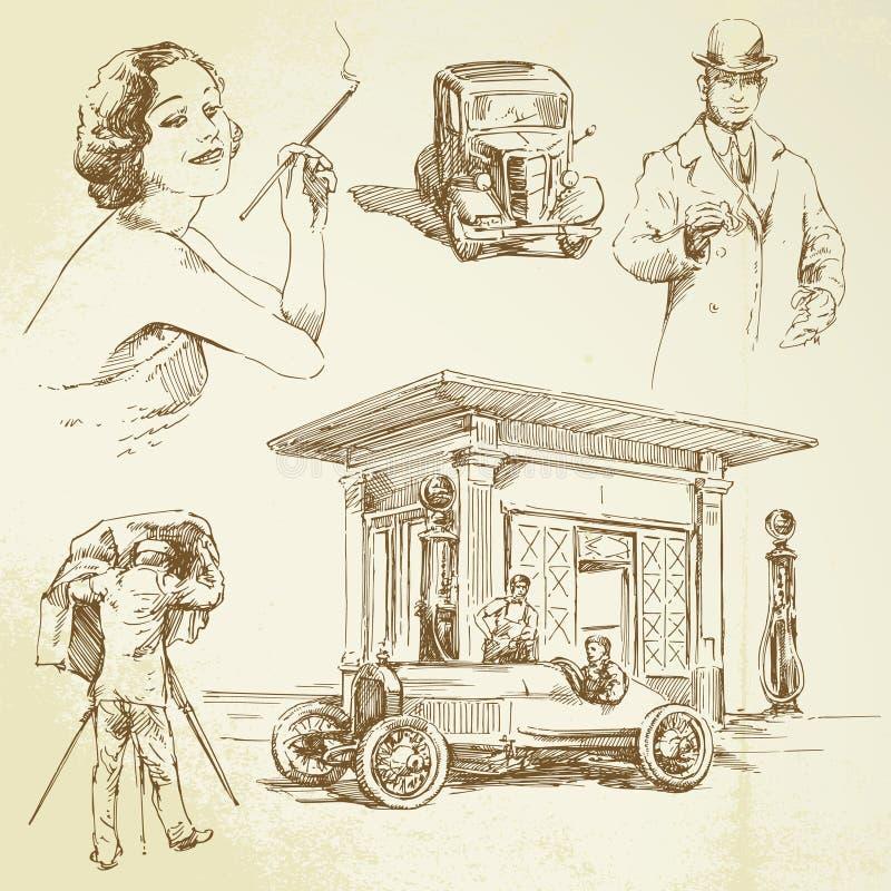 Coleção do vintage ilustração royalty free