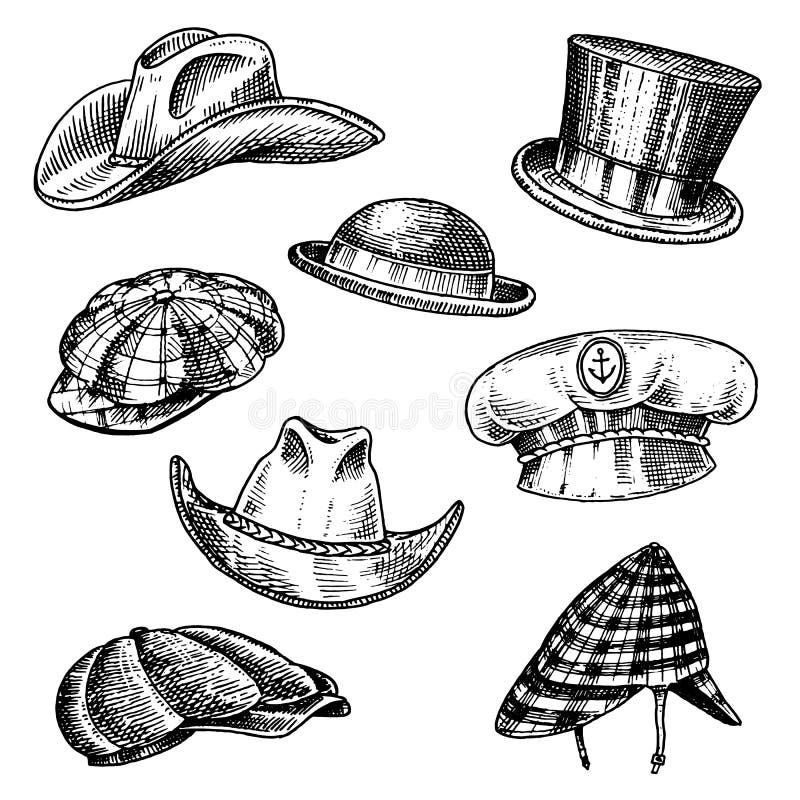 Coleção do vintage dos chapéus do verão para homens elegantes Capitão Cowboy da boina de Fedora Derby Deerstalker Homburg Bowler  ilustração royalty free