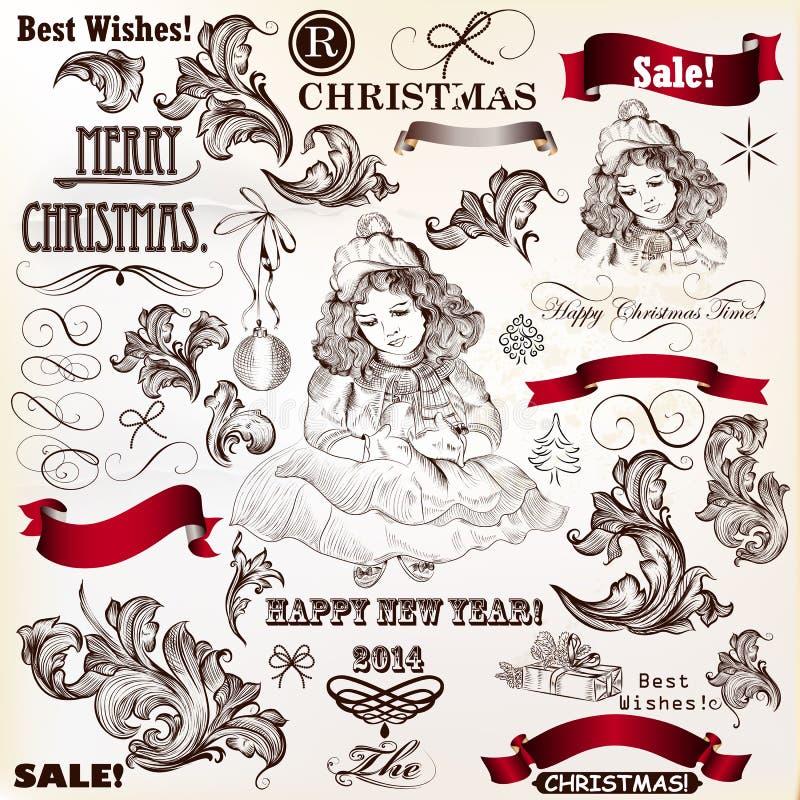 Coleção do vintage e caligráfico decorativo do vetor do Natal ilustração royalty free
