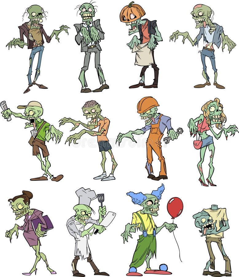 Coleção do zombi ilustração do vetor
