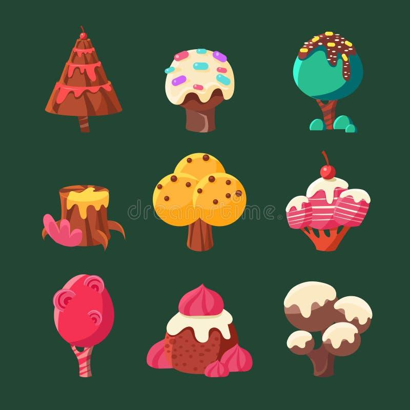 Coleção doce da terra dos doces dos desenhos animados Ilustração do vetor ilustração stock