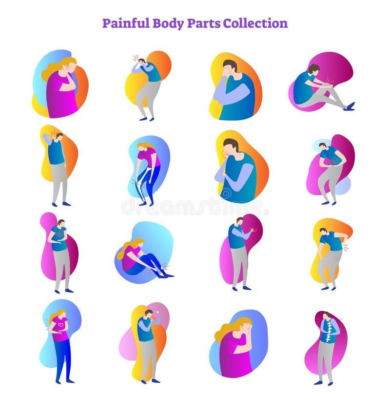 A coleção dolorosa da ilustração do vetor do problema médico das partes do corpo com ossos, as junções e os órgãos internos doem ilustração do vetor