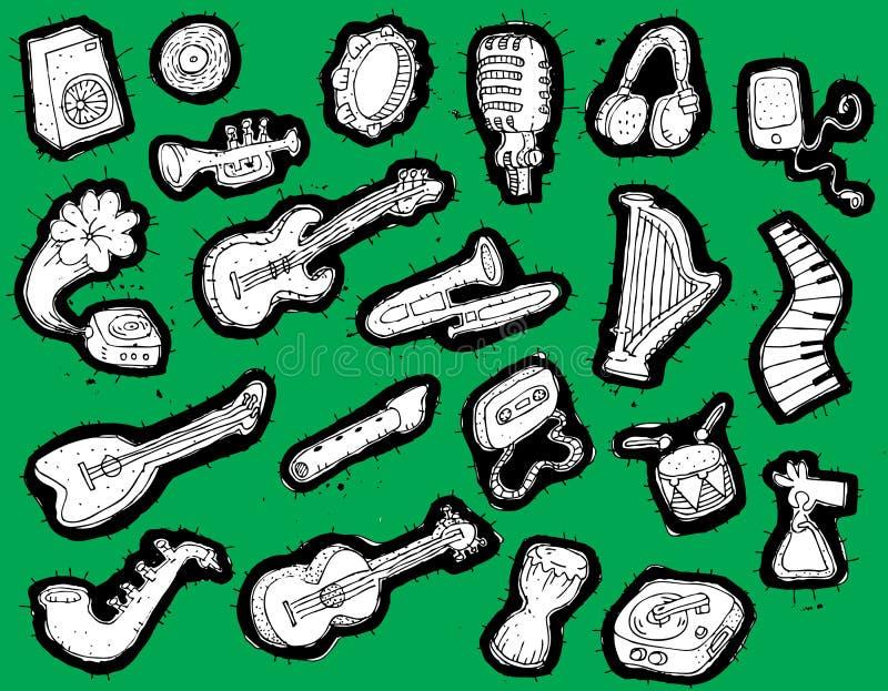 Coleção Doodled dos instrumentos musicais ilustração stock