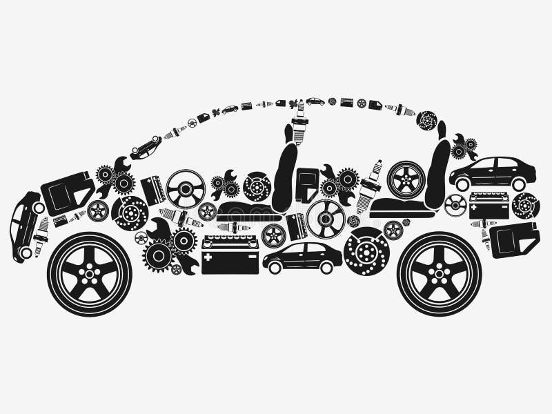 A coleção dos ícones arranjou na forma do carro O conceito de assuntos automotivos ilustração royalty free