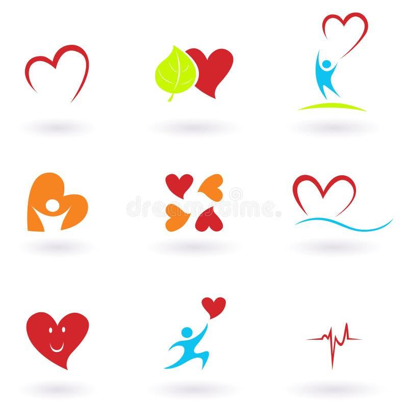 Coleção dos ícones da cardiologia, do coração e dos povos ilustração stock
