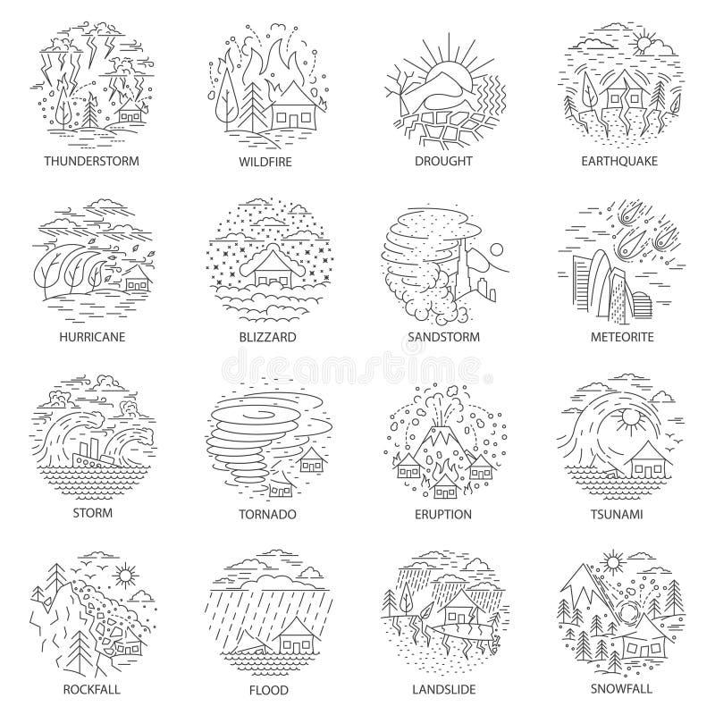 Coleção dos ícones da catástrofe natural ilustração do vetor