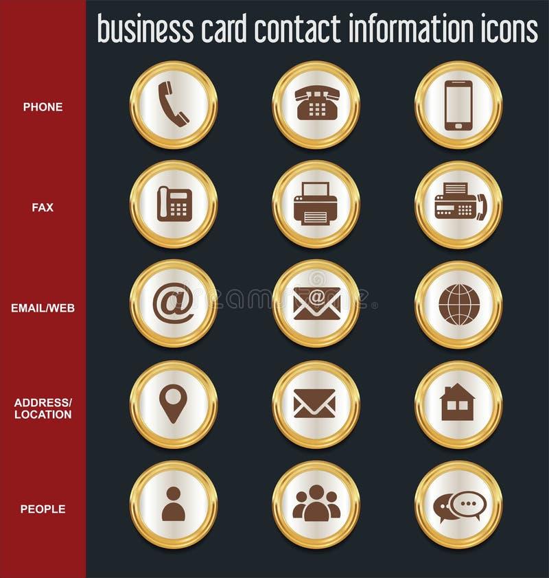 Coleção dos ícones da informações de contato do cartão ilustração stock