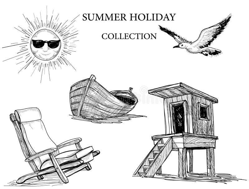 Coleção dos ícones das férias de verão ilustração royalty free