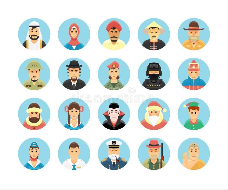 Coleção dos ícones das pessoas Os ícones ajustaram a ilustração de ocupações dos povos, estilos de vida, nações ilustração stock