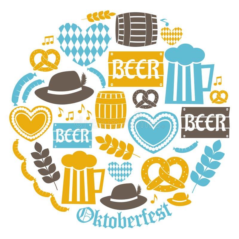 Coleção dos ícones de Oktoberfest ilustração do vetor