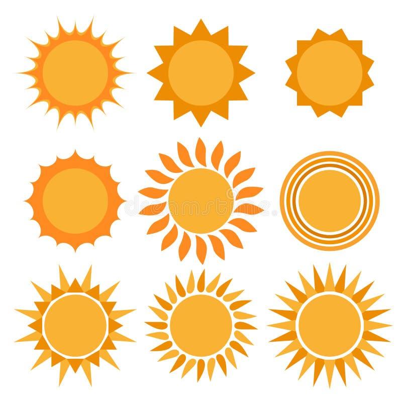 Coleção dos ícones de Sun fotografia de stock royalty free