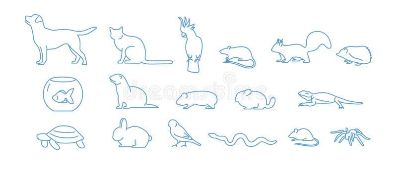 Coleção dos ícones do animal de estimação tirados com linha de contorno azul no fundo branco Grupo de símbolos lineares do animal ilustração royalty free