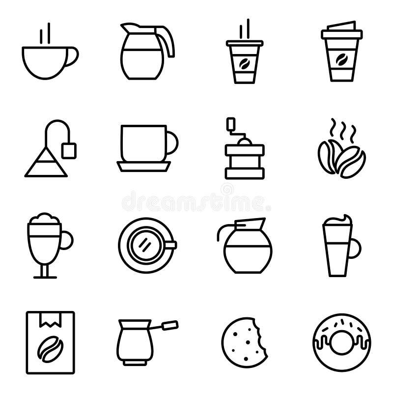 Coleção dos ícones do café ilustração royalty free