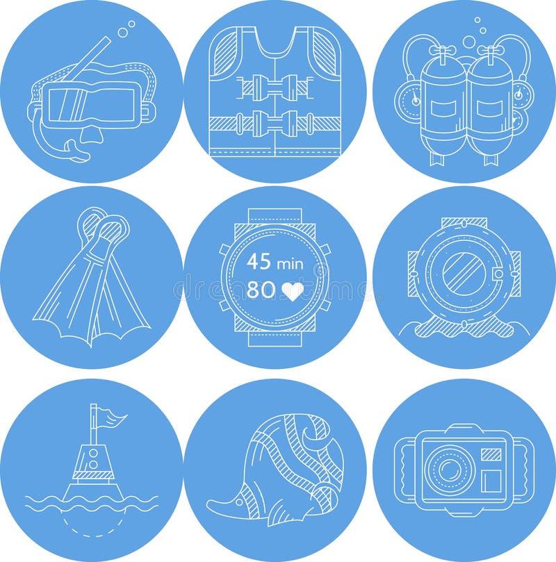 Coleção dos ícones do esporte do mergulho ilustração royalty free