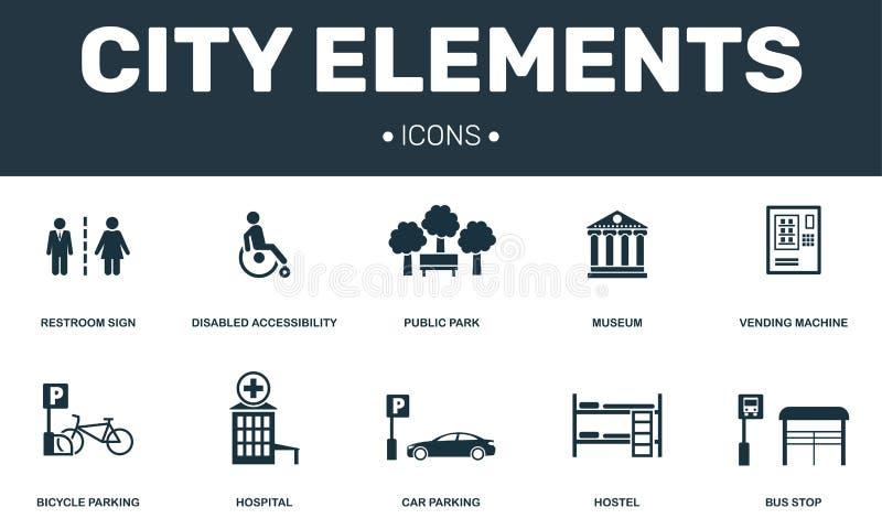 Coleção dos ícones do grupo de elementos da cidade Inclui elementos simples tais como o toalete, o parque deficiente, público, o  ilustração stock