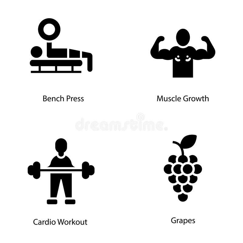 Coleção dos ícones do plano do exercício e da dieta ilustração royalty free