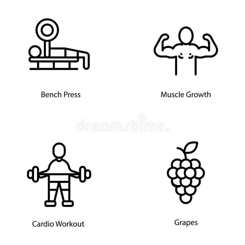 Coleção dos ícones do plano do exercício e da dieta ilustração stock