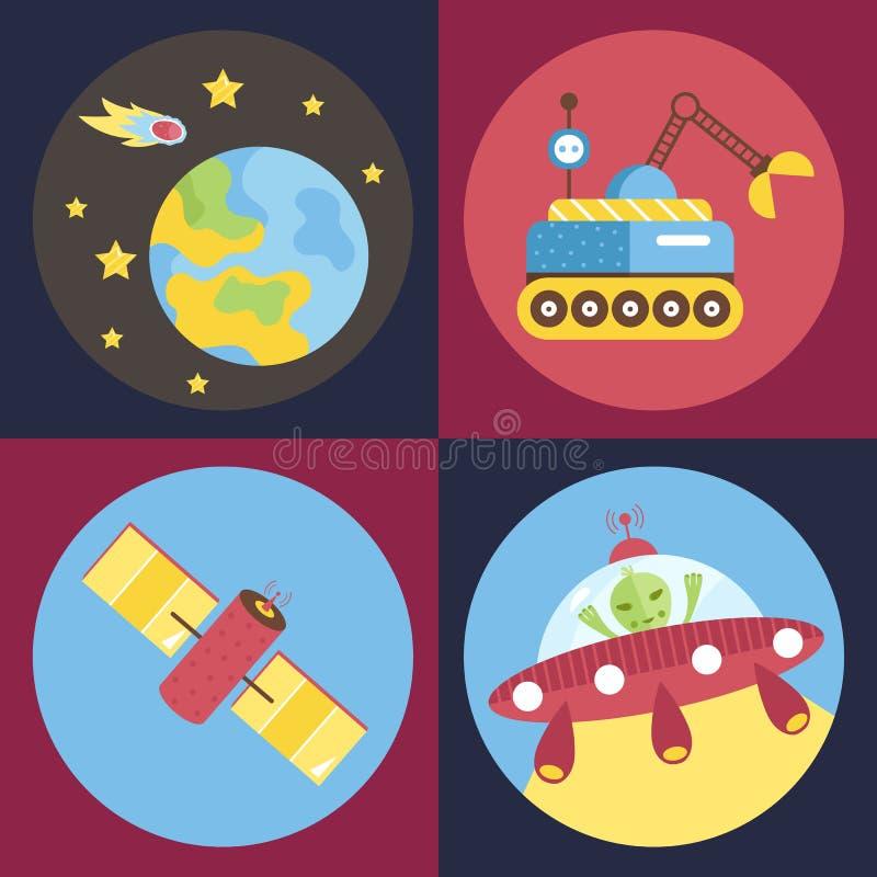 Coleção dos ícones do vetor dos desenhos animados do espaço ilustração do vetor