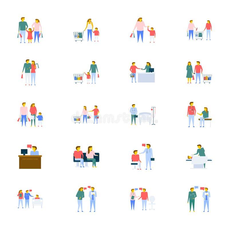 Coleção dos ícones do vetor dos povos no projeto liso ilustração do vetor