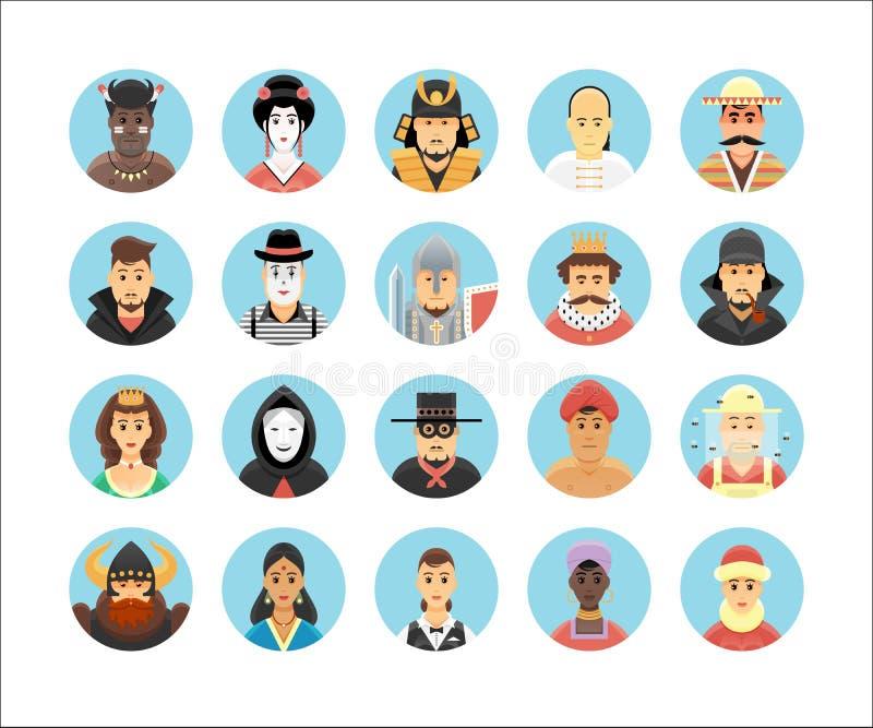 Coleção dos ícones dos caráteres e das pessoas do vetor ilustração royalty free