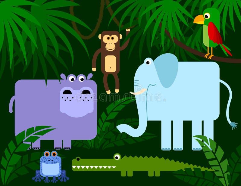Coleção dos animais da selva ilustração royalty free