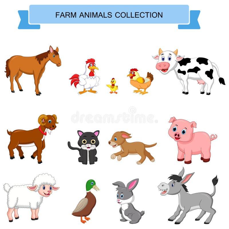 Coleção dos animais de exploração agrícola dos desenhos animados ilustração stock