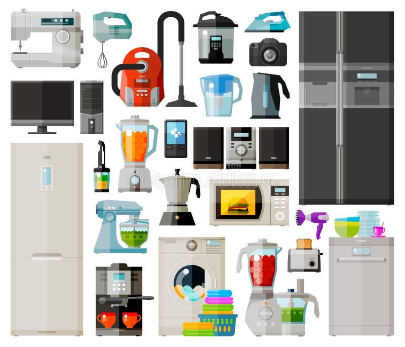 Coleção dos aparelhos eletrodomésticos Ícones ajustados Vetor ilustração royalty free