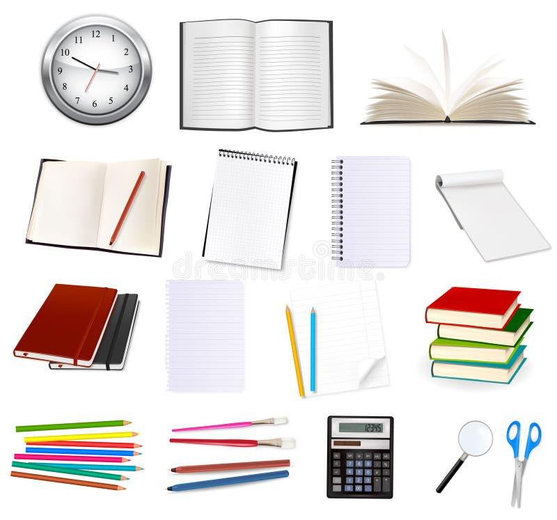 Coleção dos artigos de papelaria para o escritório. Vetor. ilustração royalty free
