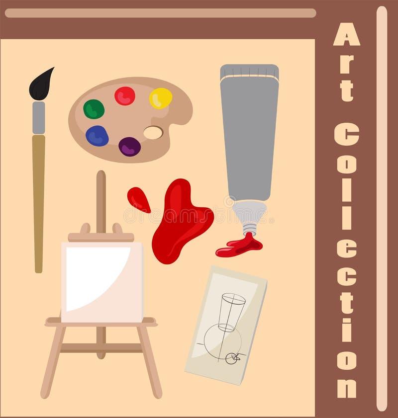 Coleção dos atributos do artista Coisas necessárias para a faculdade criadora e o desenho ilustração royalty free