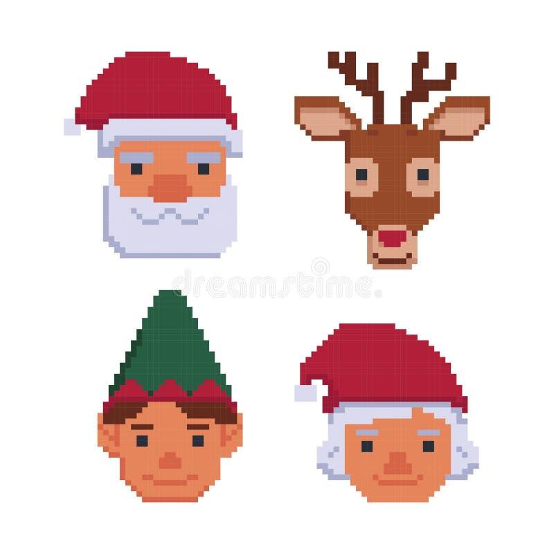 Coleção dos avatars do Natal isolados em um fundo branco Papai Noel, Sra. Claus, cervo, duende bocado 8 Gráficos para jogos ilustração do vetor
