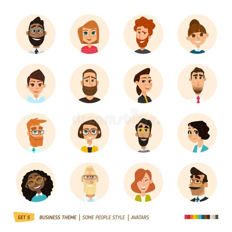 Coleção dos avatars dos povos fotografia de stock