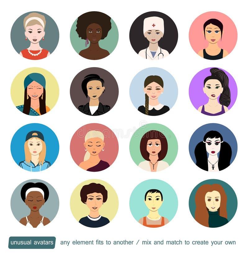 Coleção dos avatars dos povos Meninas, mulher em papéis sociais diferentes Cada elemento, acessório ou roupa da cara podem ser ilustração do vetor