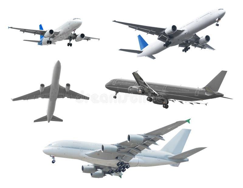 Coleção dos aviões de passageiro isolados no fundo branco imagens de stock royalty free